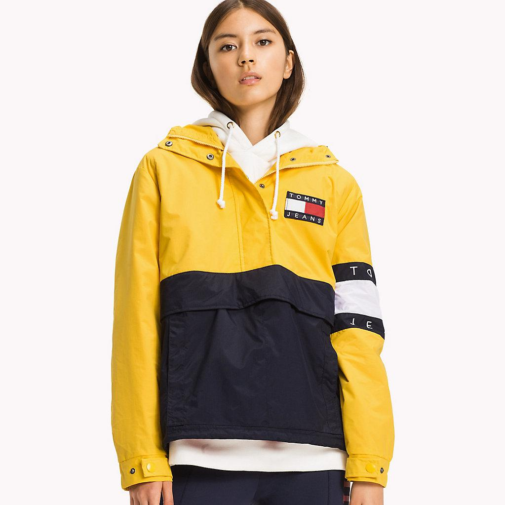 tommy hilfiger nylon colour block pullover in yellow lyst. Black Bedroom Furniture Sets. Home Design Ideas