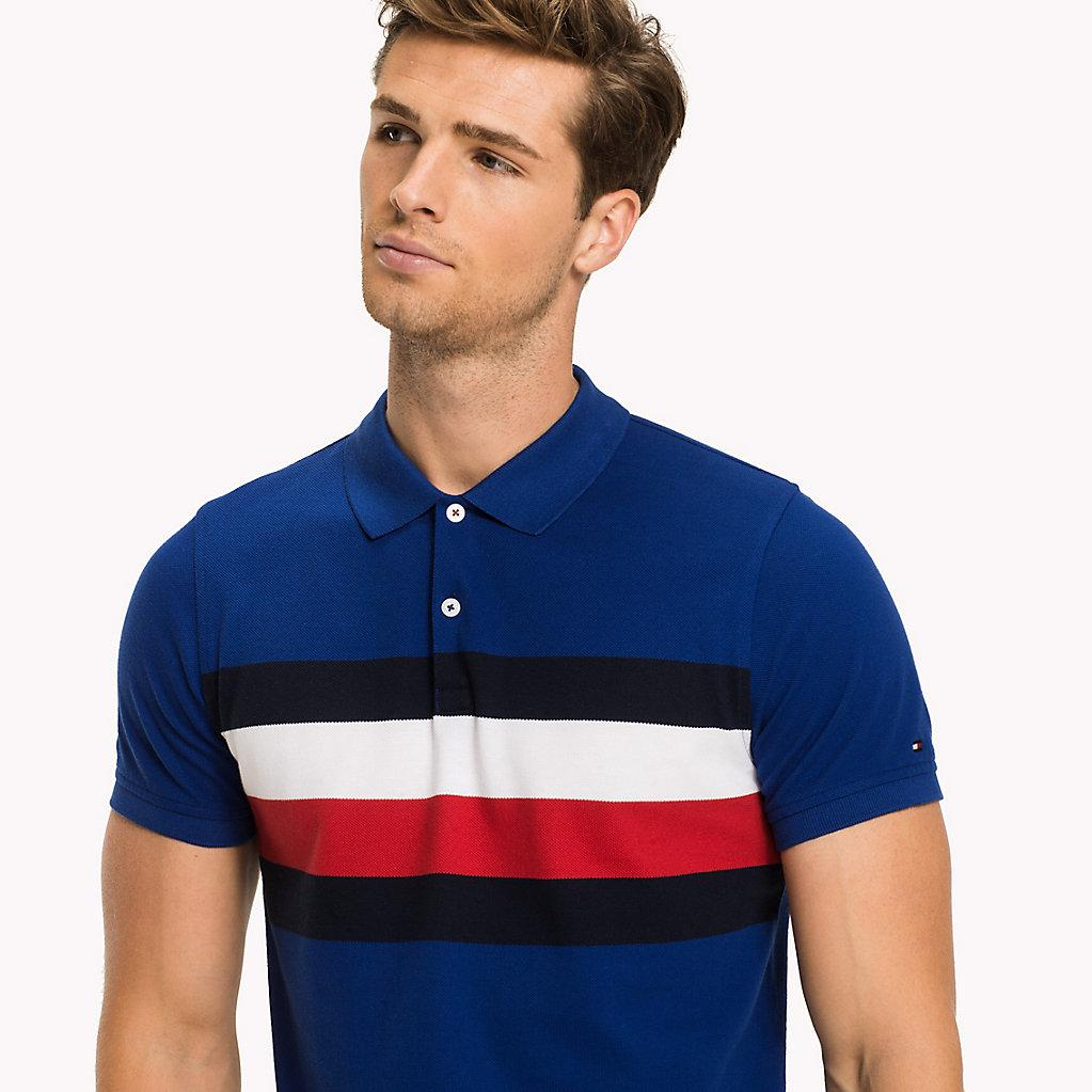 07acf32c3 Tommy Hilfiger Chest Stripe Slim Fit Polo Shirt in Blue for Men - Lyst