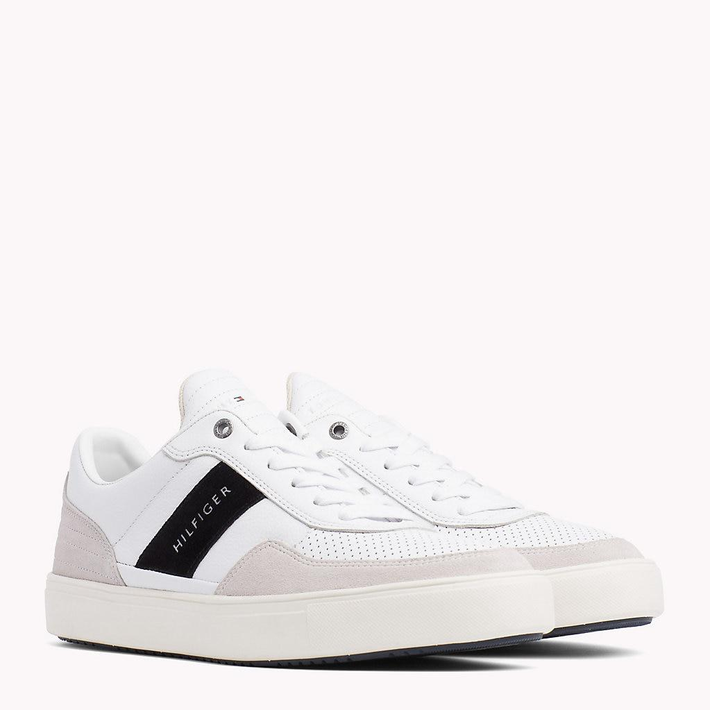 42c077f9fc3a3 Tommy Hilfiger Leather Mix Low-cut Trainers in White for Men - Lyst