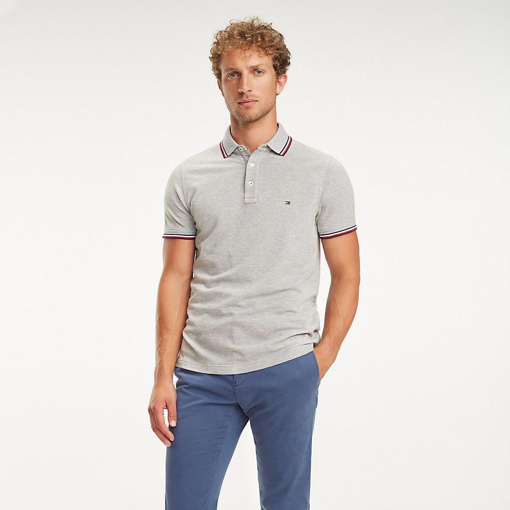 cba7a503 Tommy Hilfiger Signature Tape Slim Fit Polo in Gray for Men - Lyst