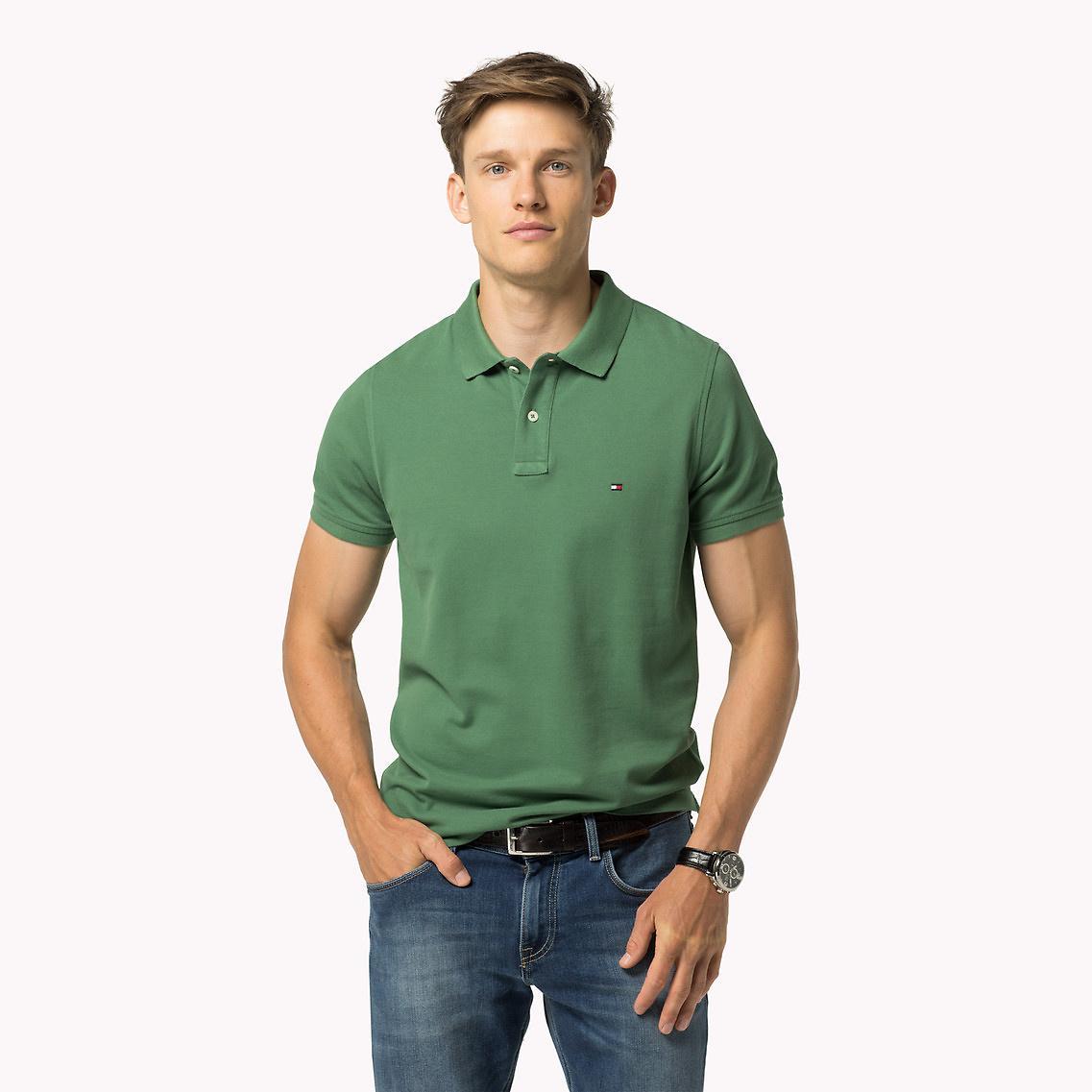 tommy hilfiger pique slim fit polo in green for men lyst. Black Bedroom Furniture Sets. Home Design Ideas