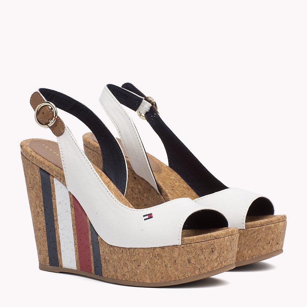 ee4903070be5 Tommy Hilfiger Signature Stripe Wedge Sandals in White - Lyst