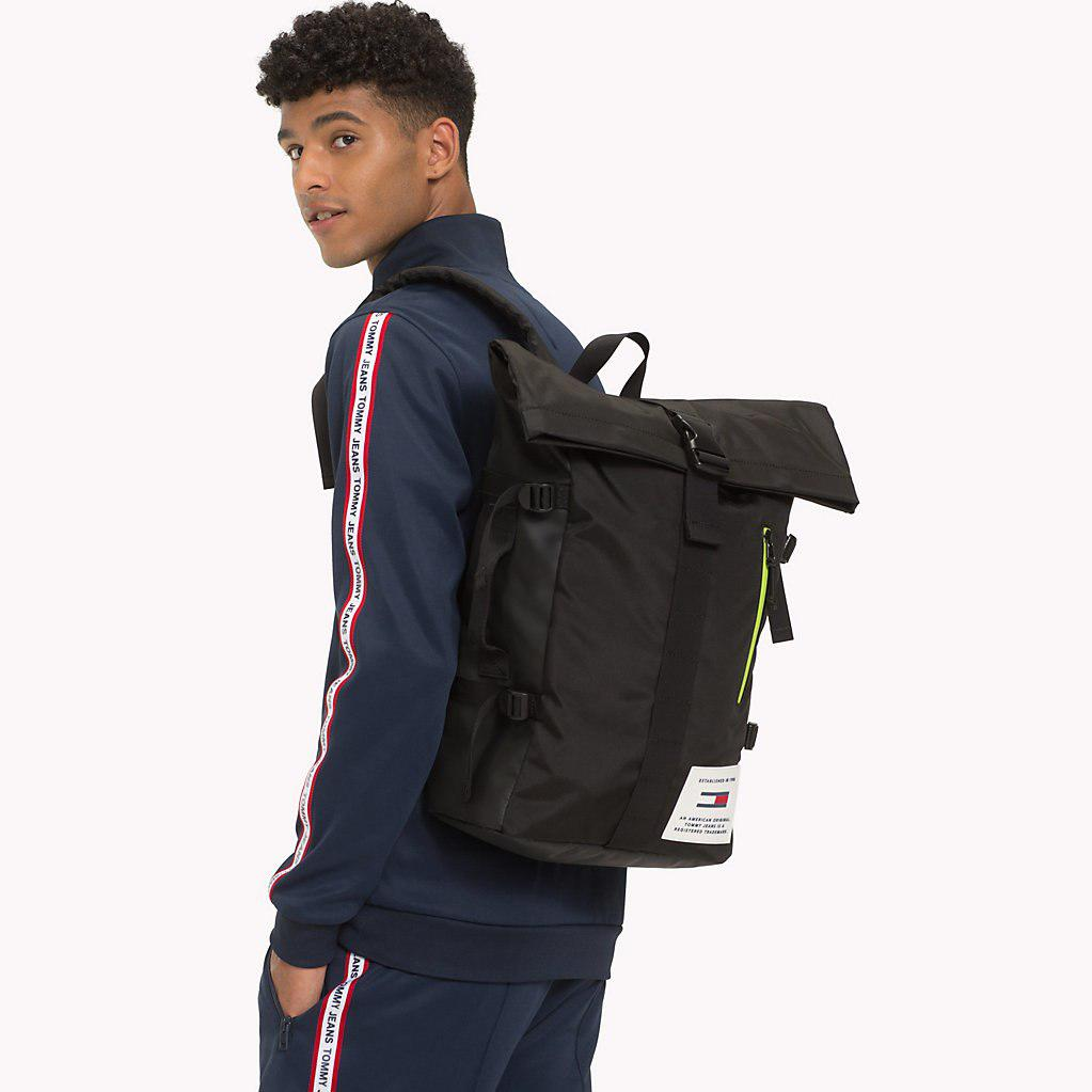 b8060a3d68 Tommy Hilfiger - Black Th Tech Neon Roll Backpack for Men - Lyst. View  fullscreen