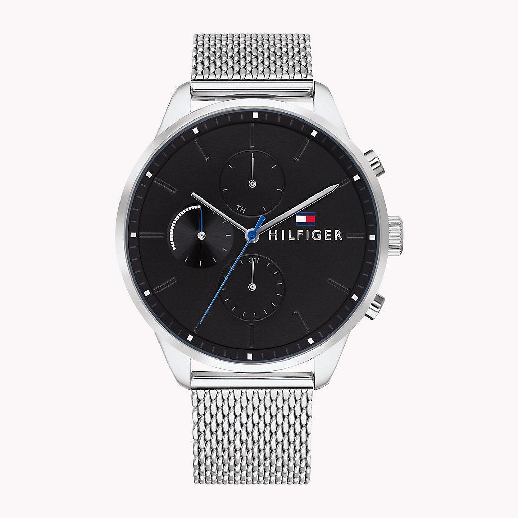 9d905d965 Tommy Hilfiger Mesh Chain Dark Dial Watch in Metallic for Men - Lyst