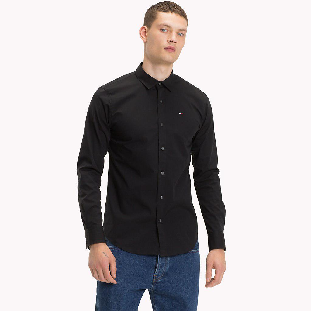 Tommy Hilfiger Stretch Slim Fit Shirt in Black for Men - Lyst 471eb71114feb