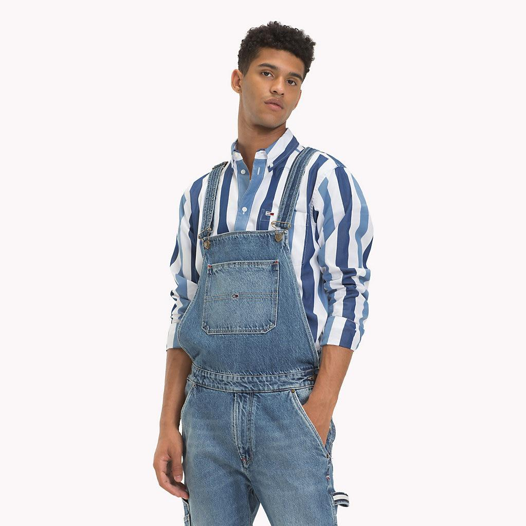 e7f08e82 Tommy Hilfiger Regular Fit Canvas Label Dungarees in Blue for Men - Lyst