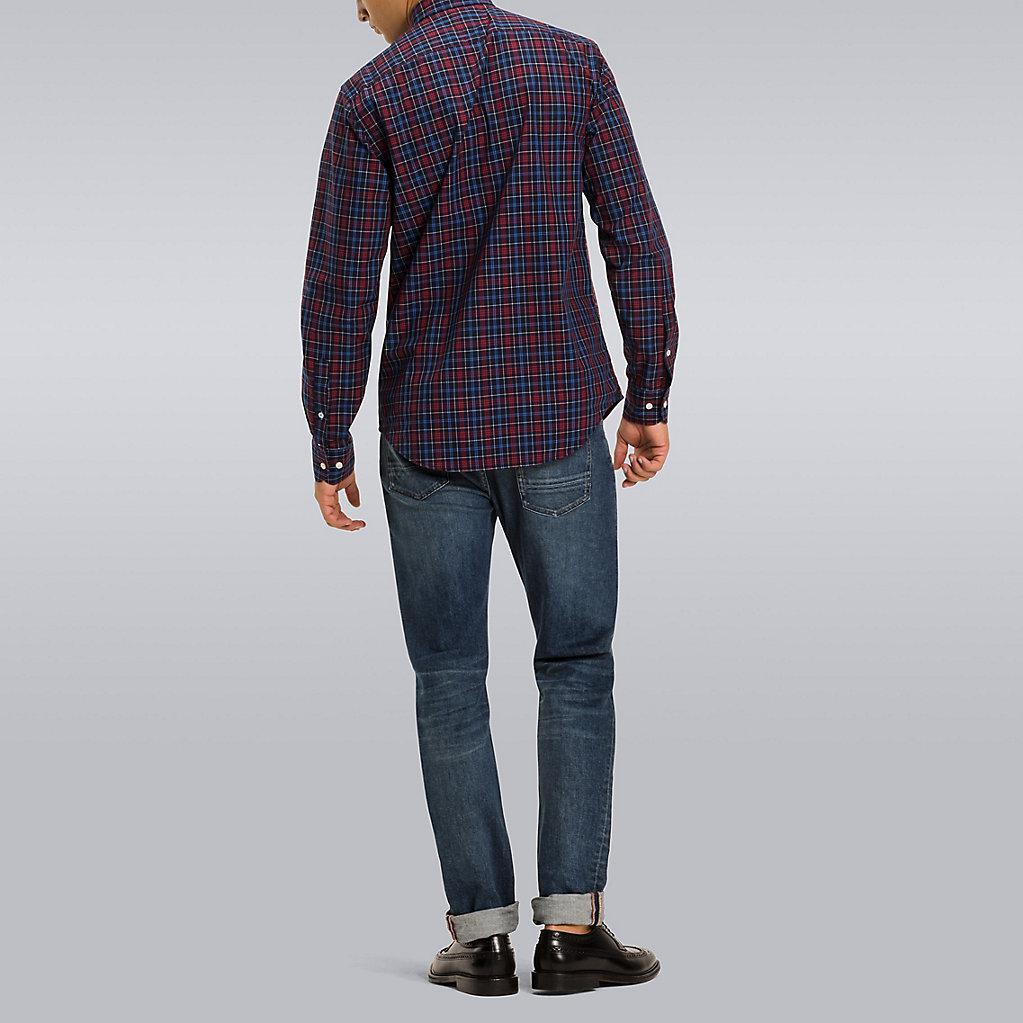 818dcdee Tommy Hilfiger Fitted Tommy Tartan Patchwork Shirt in Blue for Men ...