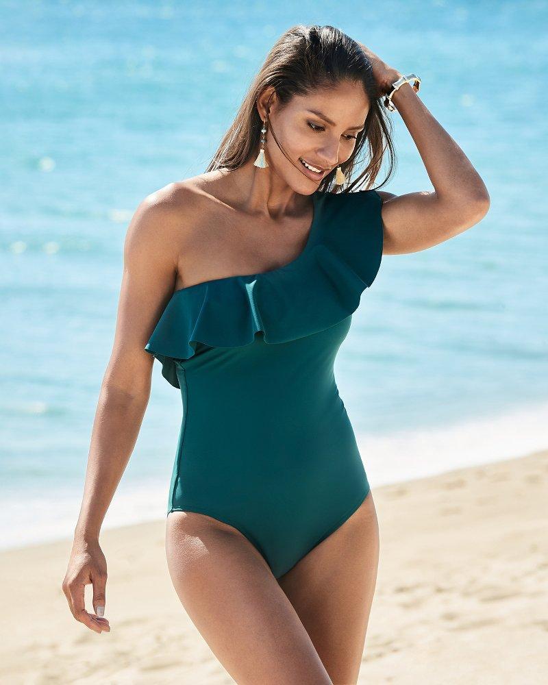 400b15e0a2d4a ... Islandsculpt® One Shoulder Flounce One-piece Swimsuit - Lyst. View  fullscreen