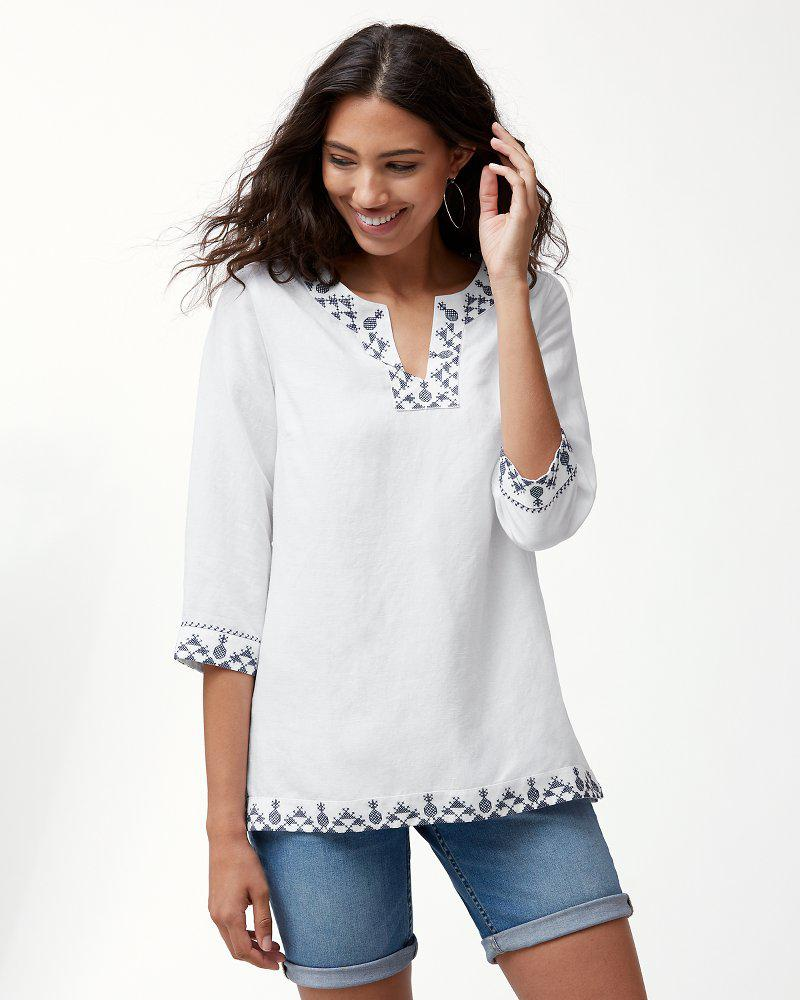 35de51b6205 Lyst - Tommy Bahama Prim Piña Embroidered Linen-blend Tunic in White