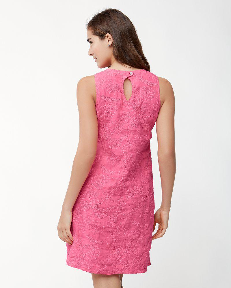 2324bfb71cd Lyst - Tommy Bahama Monstera Mash Embroidered Linen Shift Dress in Pink