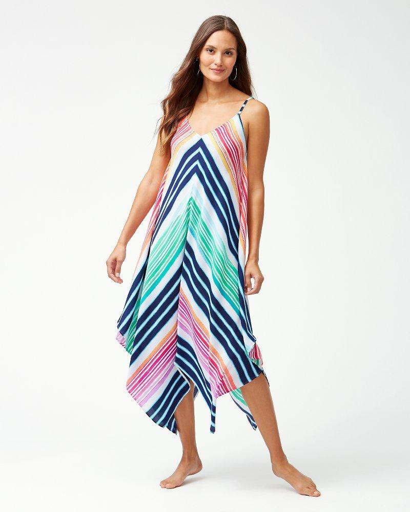 1216e85b48 Tommy Bahama. Women's Blue Rainbow Chevron Maxi Scarf Dress Swim Cover-up
