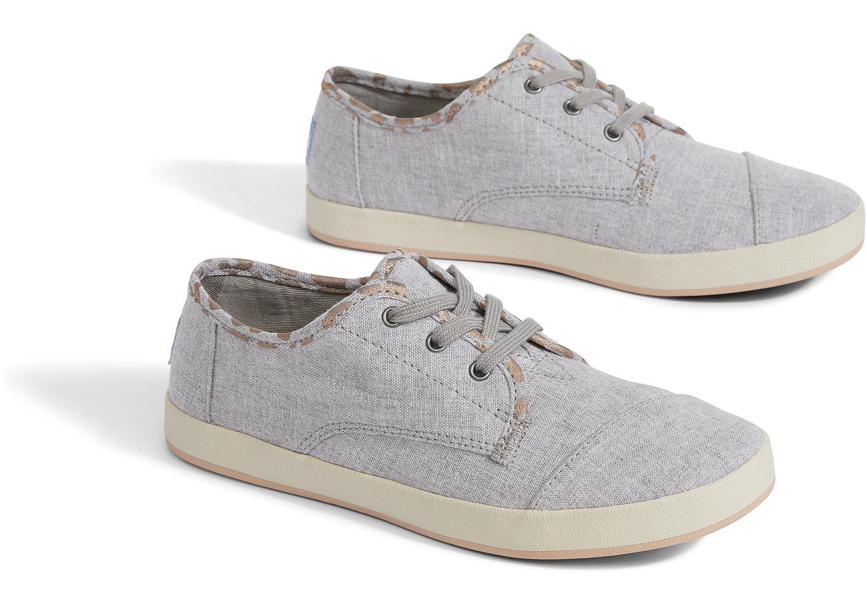 06e3f42ea1432f TOMS - Gray Drizzle Grey Slub Chambray With Cheetah Print Women s Paseo  Sneakers - Lyst. View fullscreen