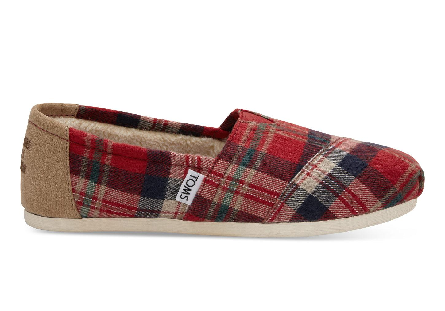 9327069b7ef Lyst - TOMS Holiday Plaid Flat Shoes in Red