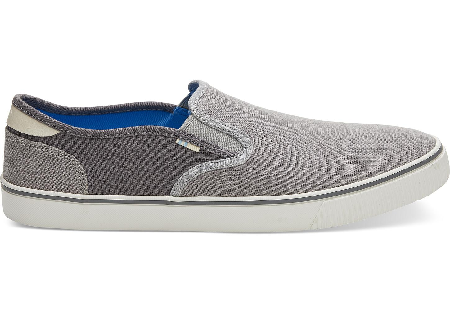 a6eaf02d931 TOMS. Gray Drizzle Grey And Shade Heritage Canvas Mens Baja Slip-ons Topanga  Collection