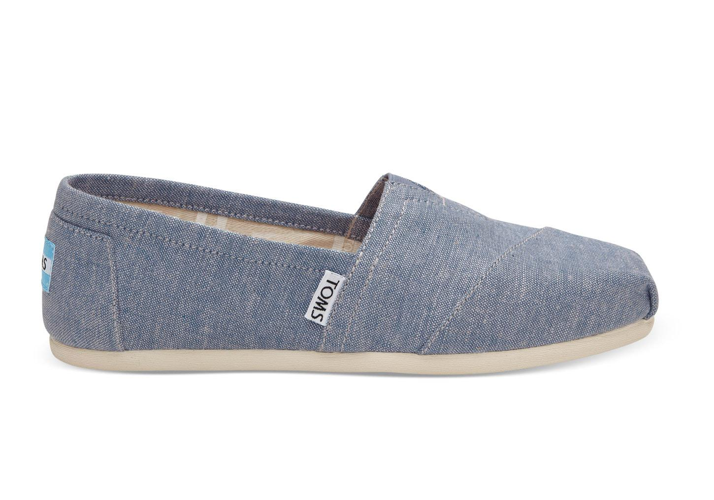 TOMS Women's Classic Chambray Rope Sole Imperial Blue Dot Ankle-High Canvas Slip-on Shoes - 9.5M gUuNMhi