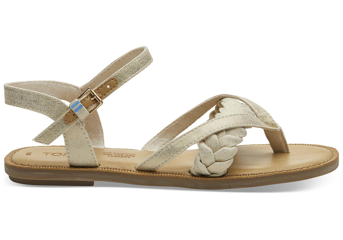fb6f42fdf0a TOMS Beige Shimmer Canvas Lexie Women s Sandals in Natural - Lyst