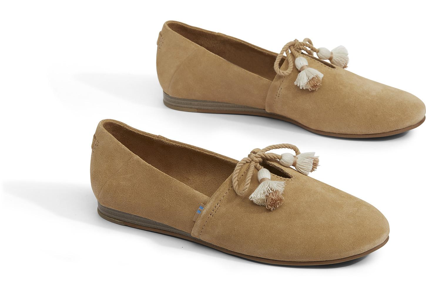 d976be84ecc99 TOMS - Natural Toffee Suede Kelli Women's Flats - Lyst. View fullscreen