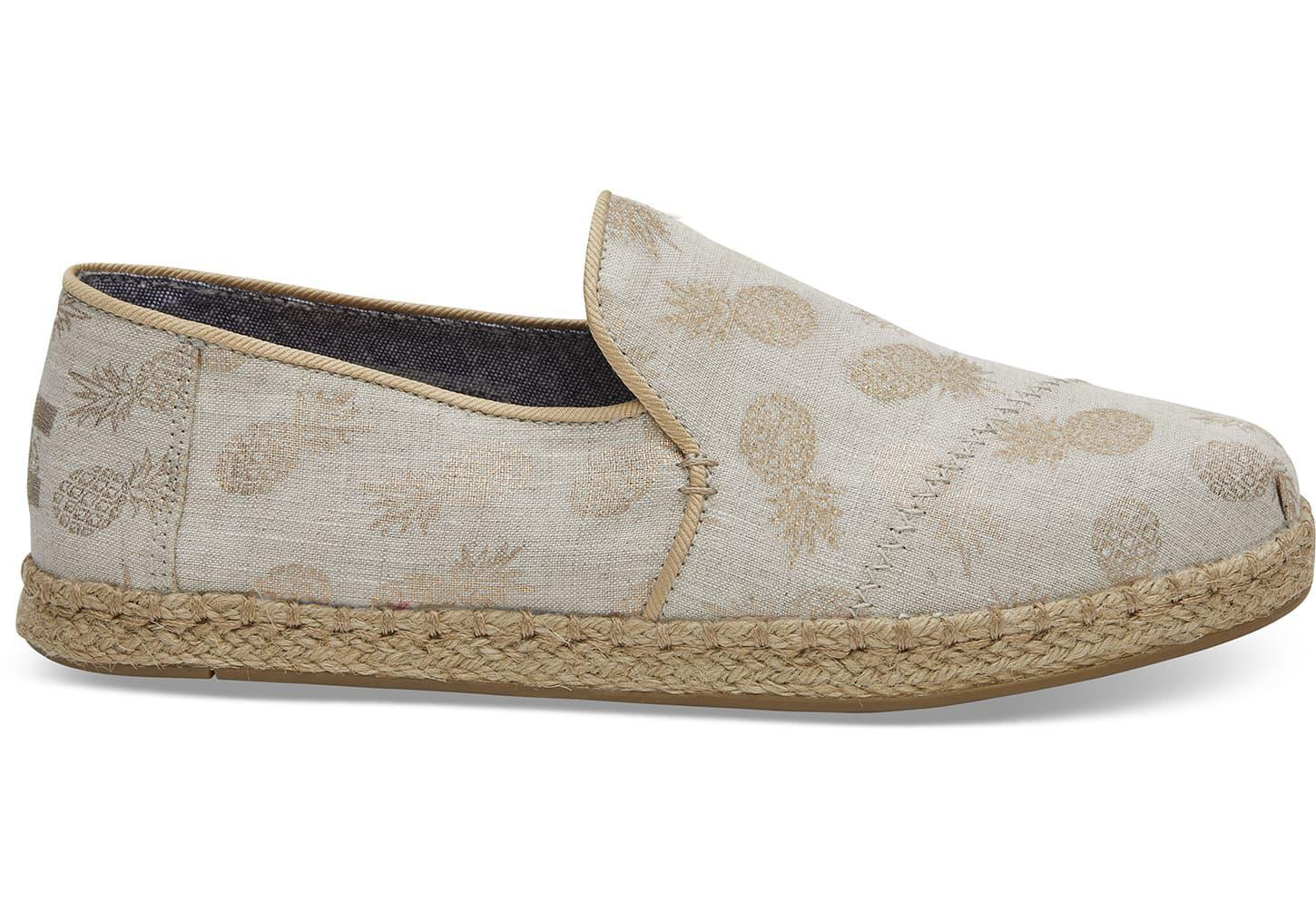 6d096a7ad84 Toms Gold Metallic Pineapples Women s Deconstructed Alpargatas in ...