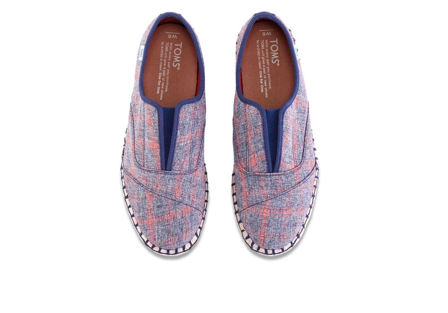 b50142a4a0d Lyst - TOMS Navy Red Plaid Women s Palmera Slip-ons in Blue