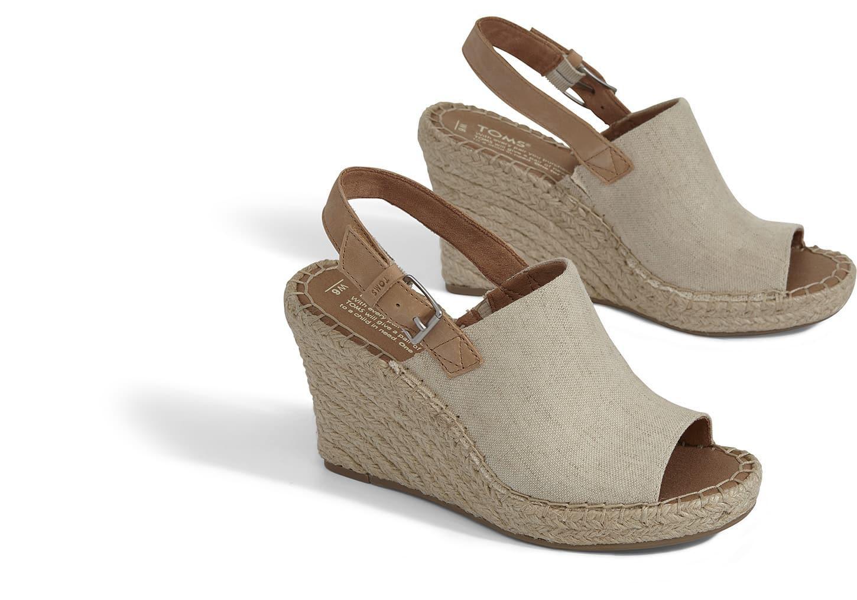 476b2424445 TOMS - Natural Women s Monica Hemp Espadrille Platform Wedge Sandals -  Lyst. View fullscreen