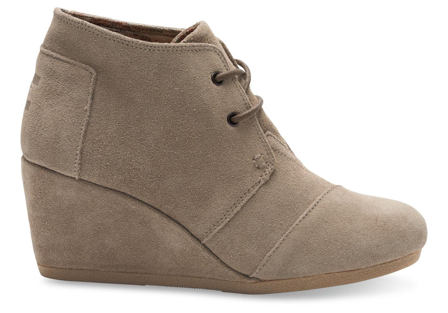 Toms Taupe Suede Women S Desert Wedges In Brown Lyst