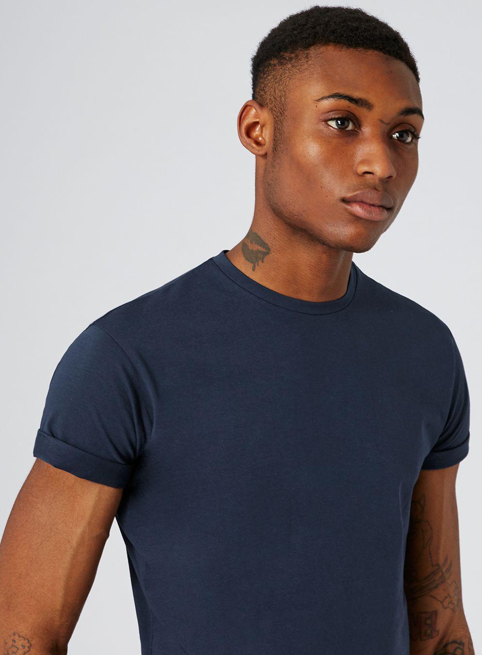 136d5fac085 Topman - Blue Navy Ultra Muscle Roller T-shirt for Men - Lyst. View  fullscreen