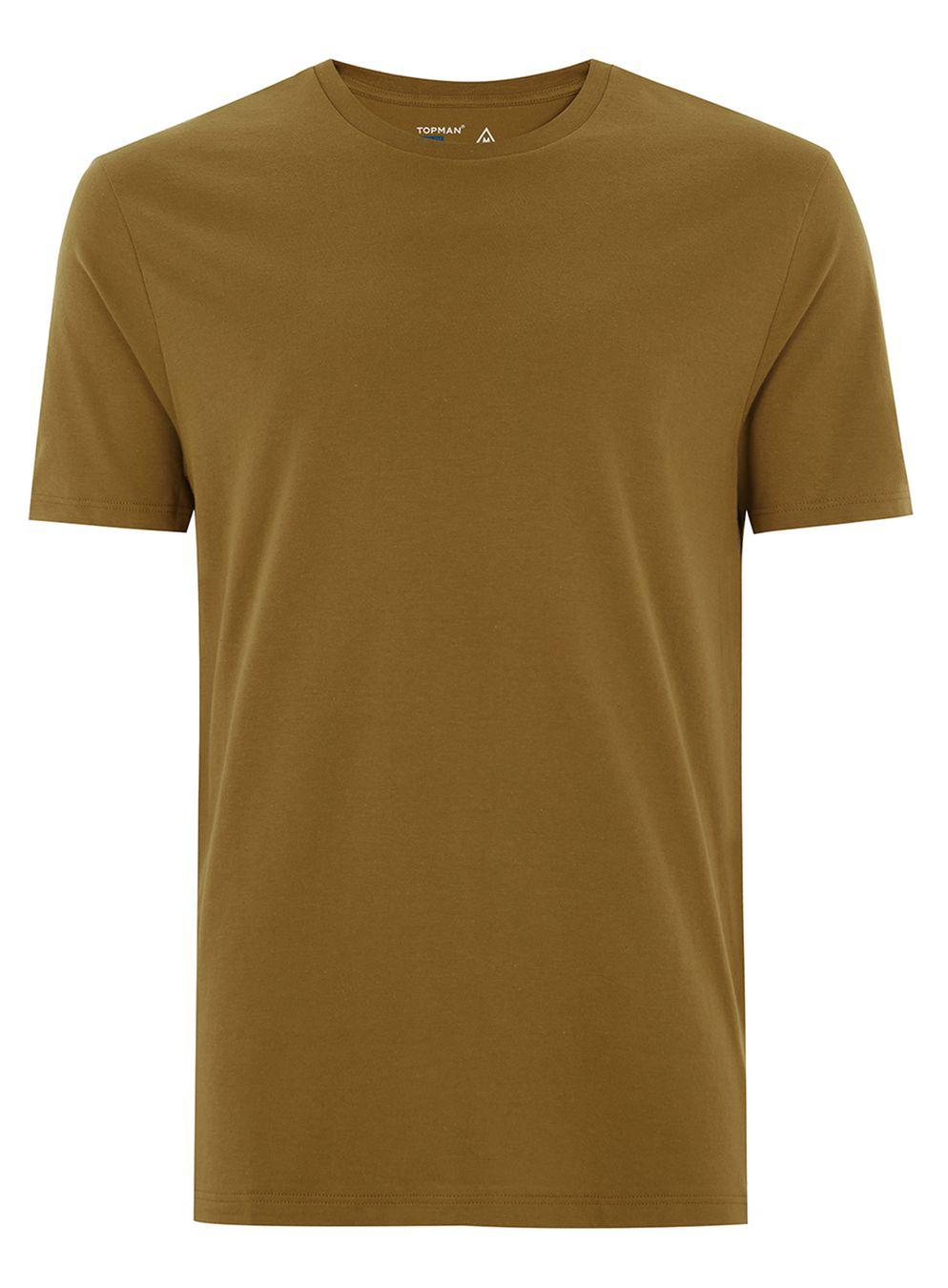 Lyst topman brown slim t shirt in brown for men for Mens chocolate brown dress shirt