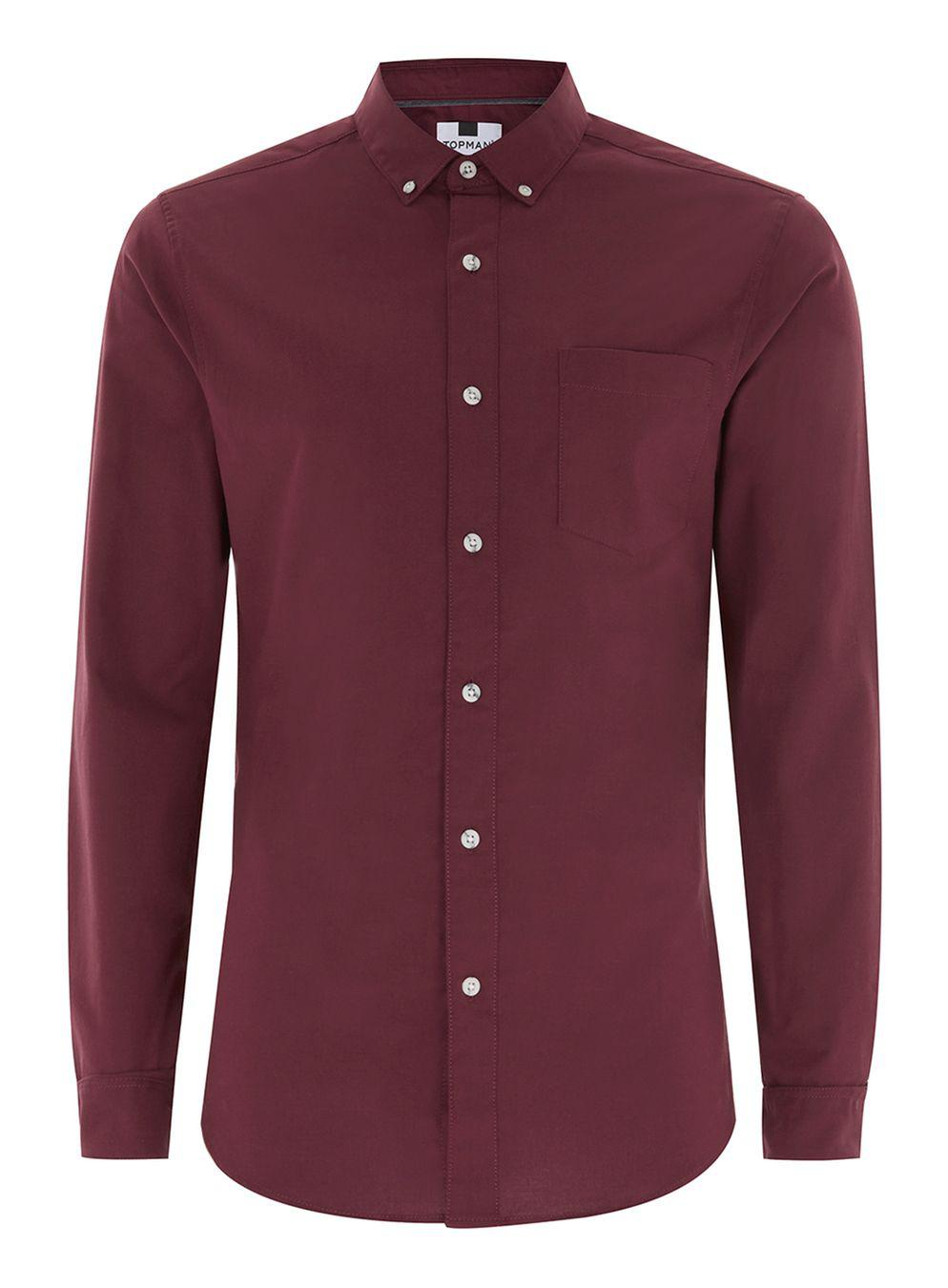 Lyst Topman Burgundy Muscle Fit Oxford Shirt In Red For Men