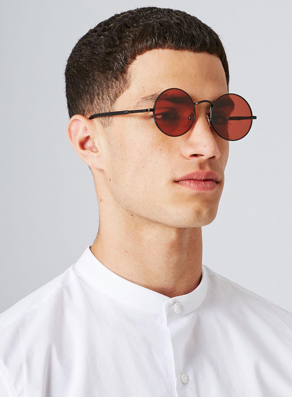 ba328339ddb36 TOPMAN Red Lens Round Sunglasses in Black for Men - Lyst