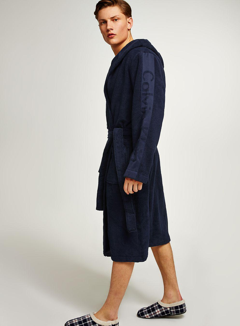 Topman Calvin Klein Navy Cotton Dressing Gown in Blue for Men - Lyst