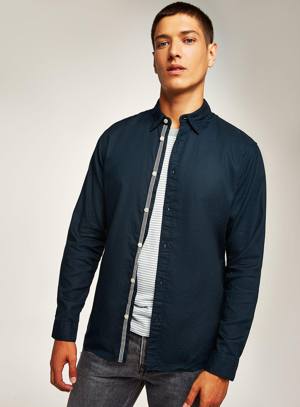 d83f2ead Selected Navy Long Sleeve Shirt in Blue for Men - Lyst