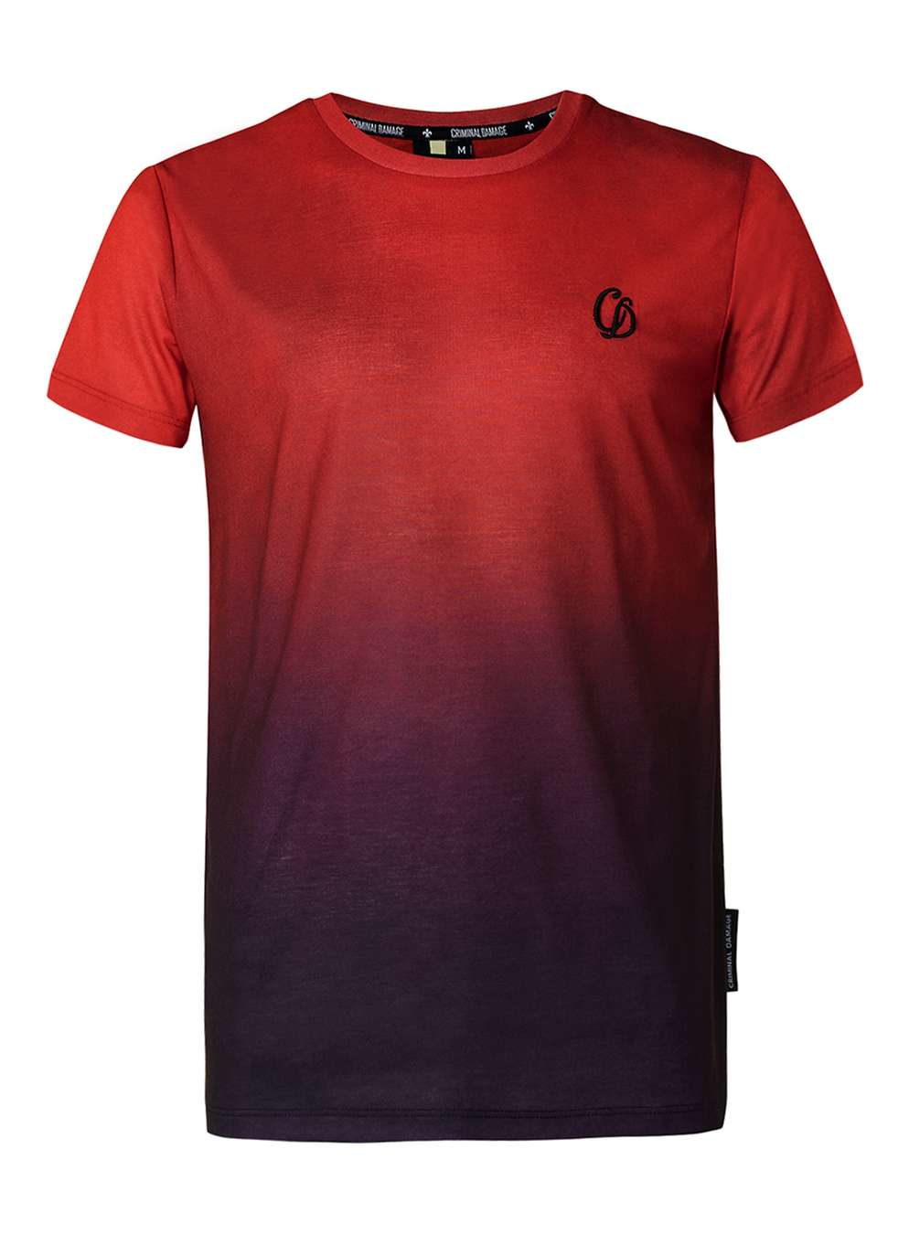 Criminal damage red and purple dip dye t shirt in black for How to dye a shirt red