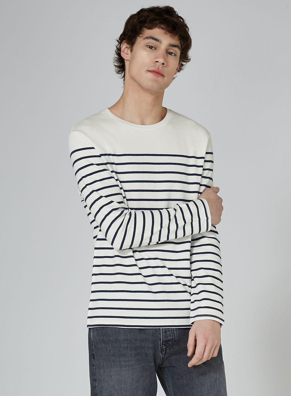 26c3e69d25 TOPMAN Levi's White And Blue Stripe 'mission' T-shirt in White for ...