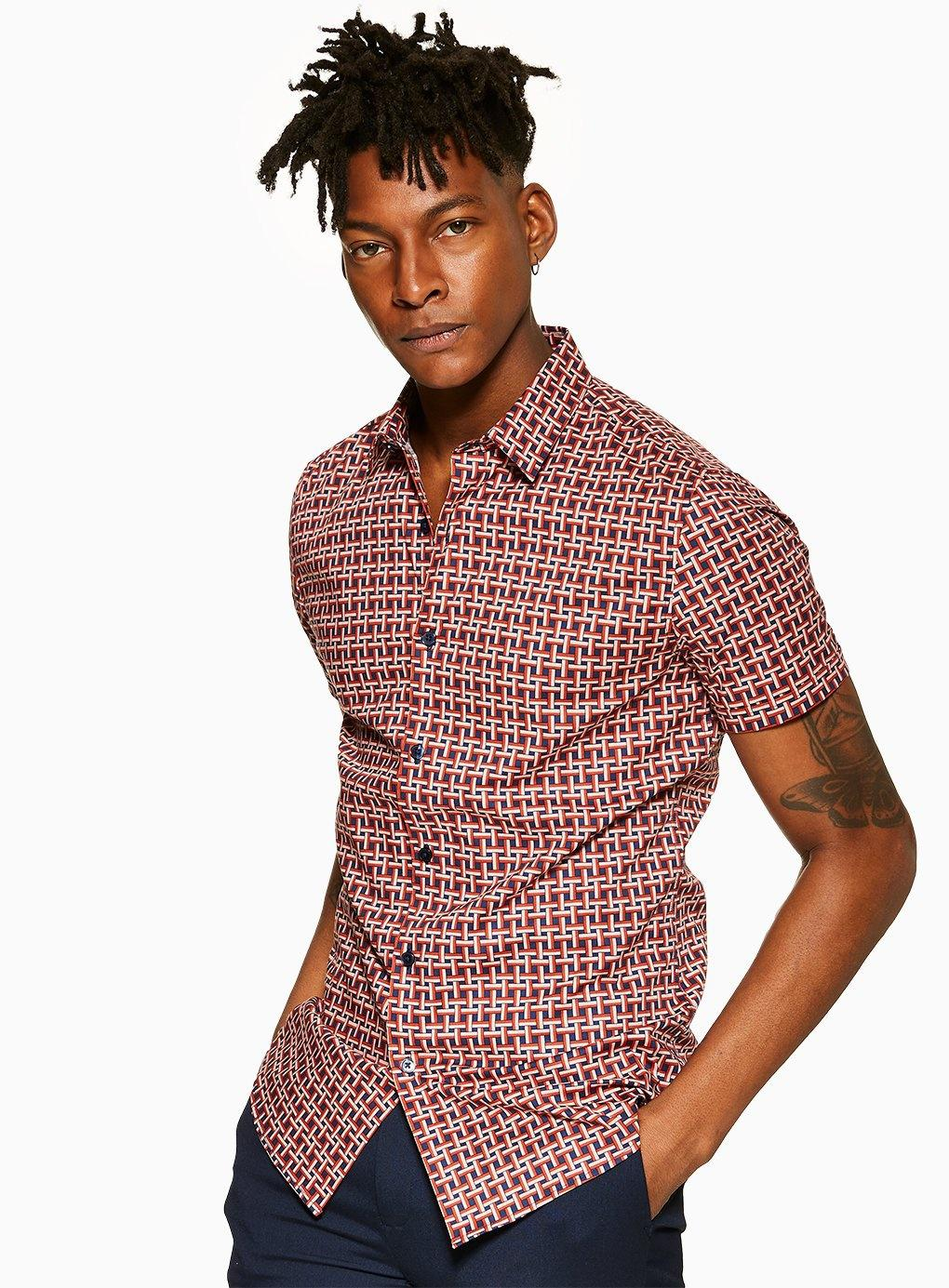 95d3d565ffec TOPMAN Rust Geometric Print Stretch Skinny Shirt in Red for Men - Lyst