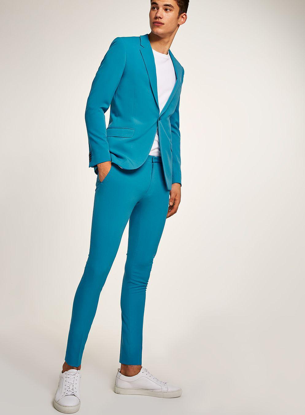 Lyst - Topman Bright Blue Spray On Suit Trouser in Blue for Men