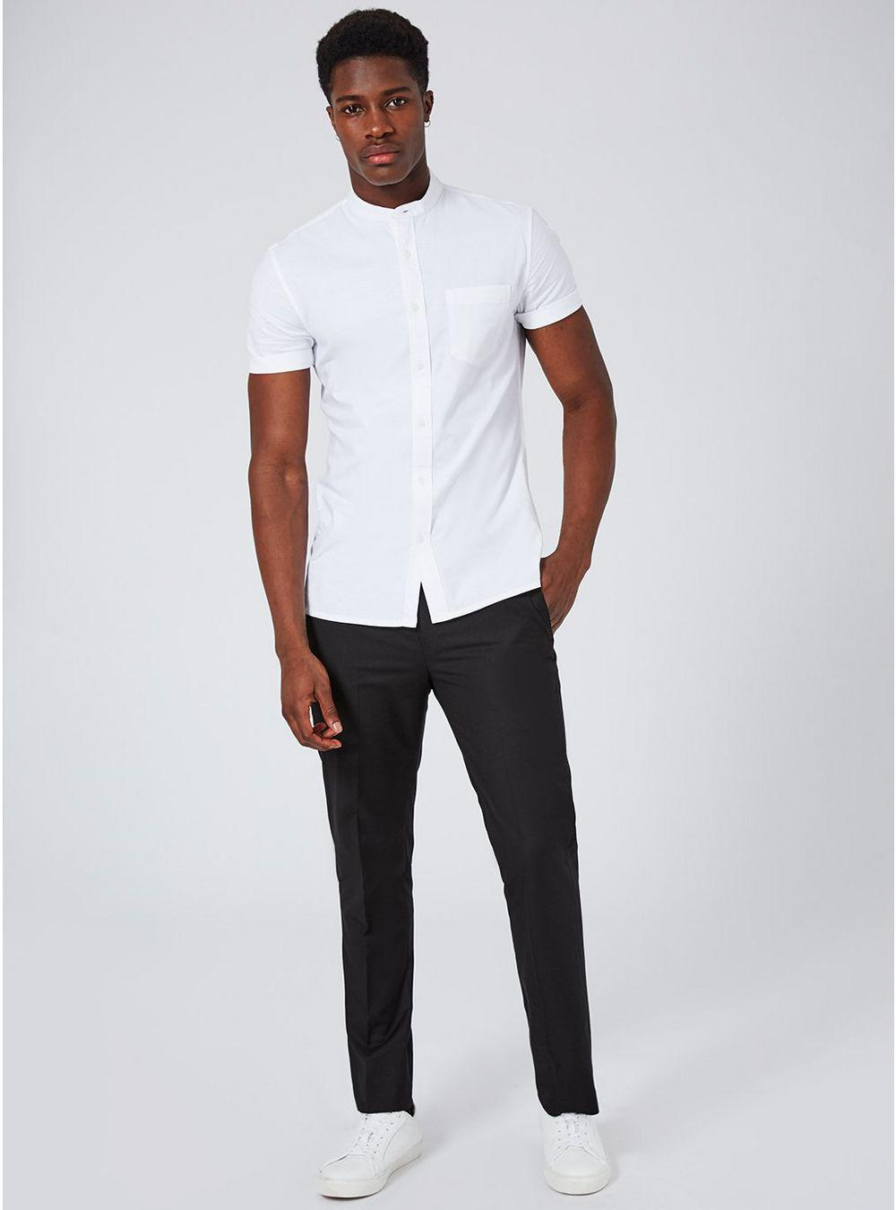 90dd75a2a6bb TOPMAN White Stand Collar Stretch Skinny Oxford Shirt in White for ...