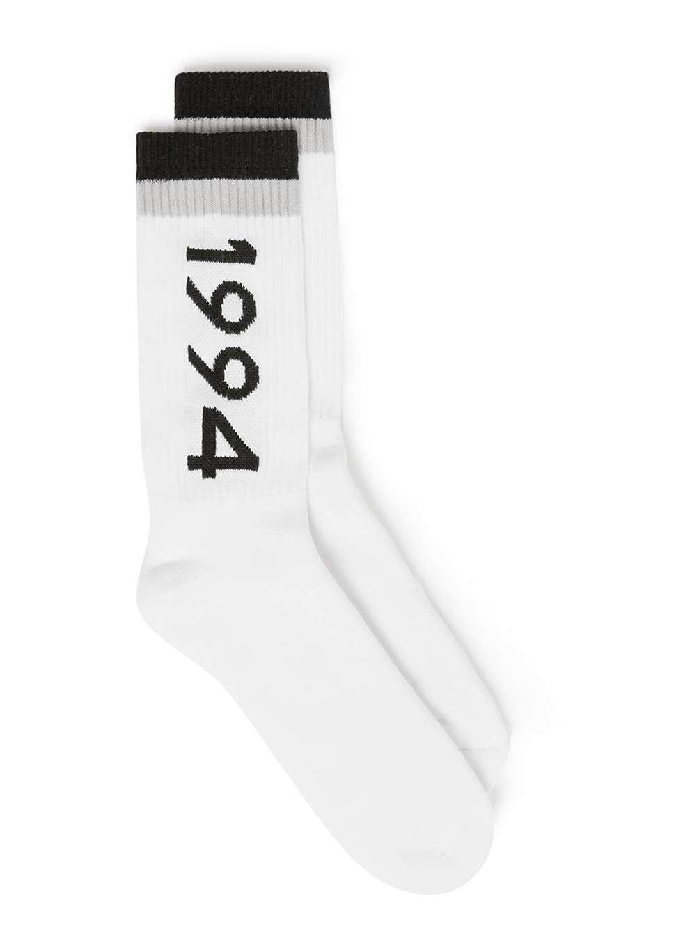 5f4ef205e TOPMAN Black And Grey Stripe 1994 Slogan Tube Socks in White for Men ...