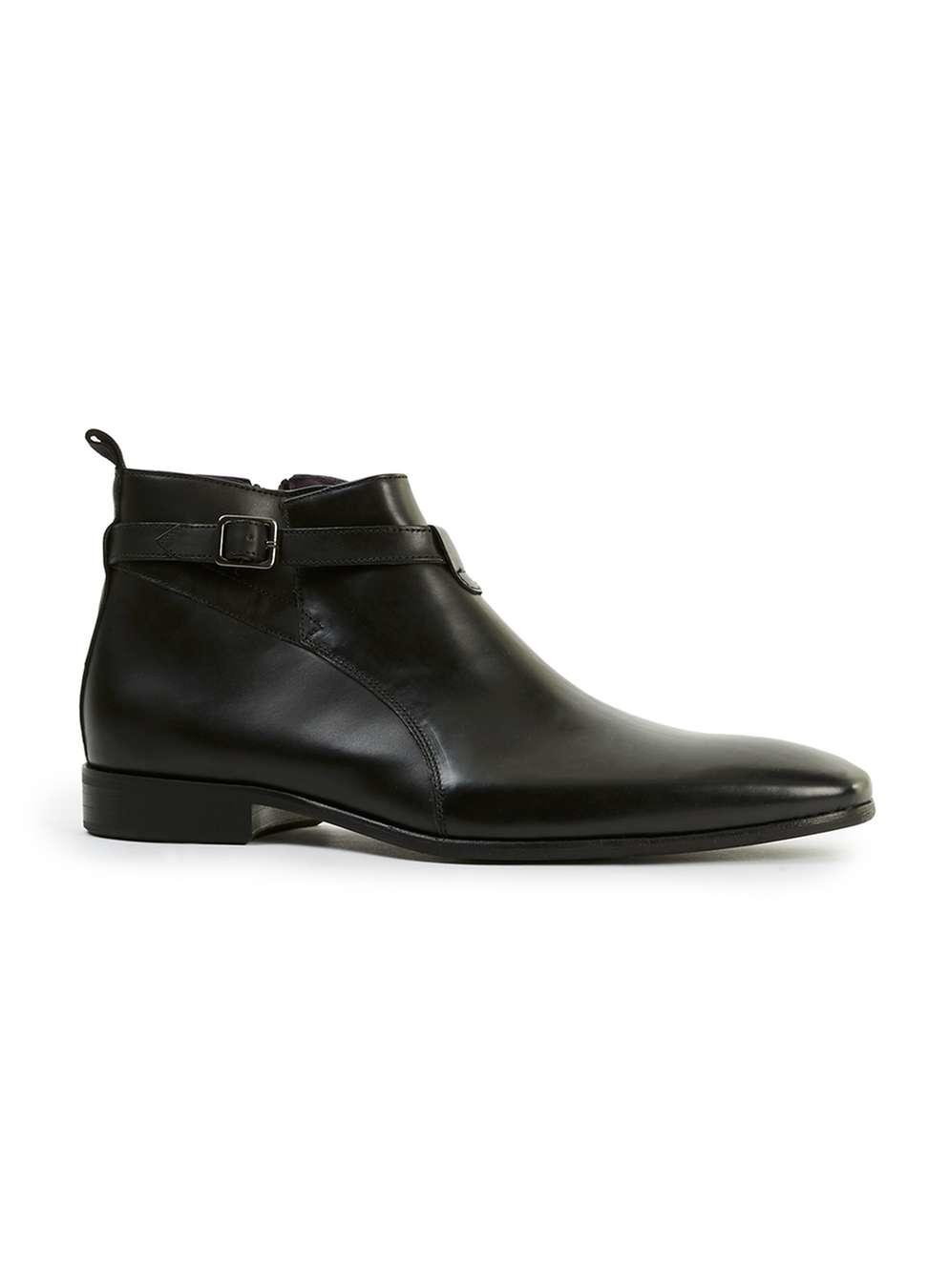 topman black leather buckle ankle boots in black for