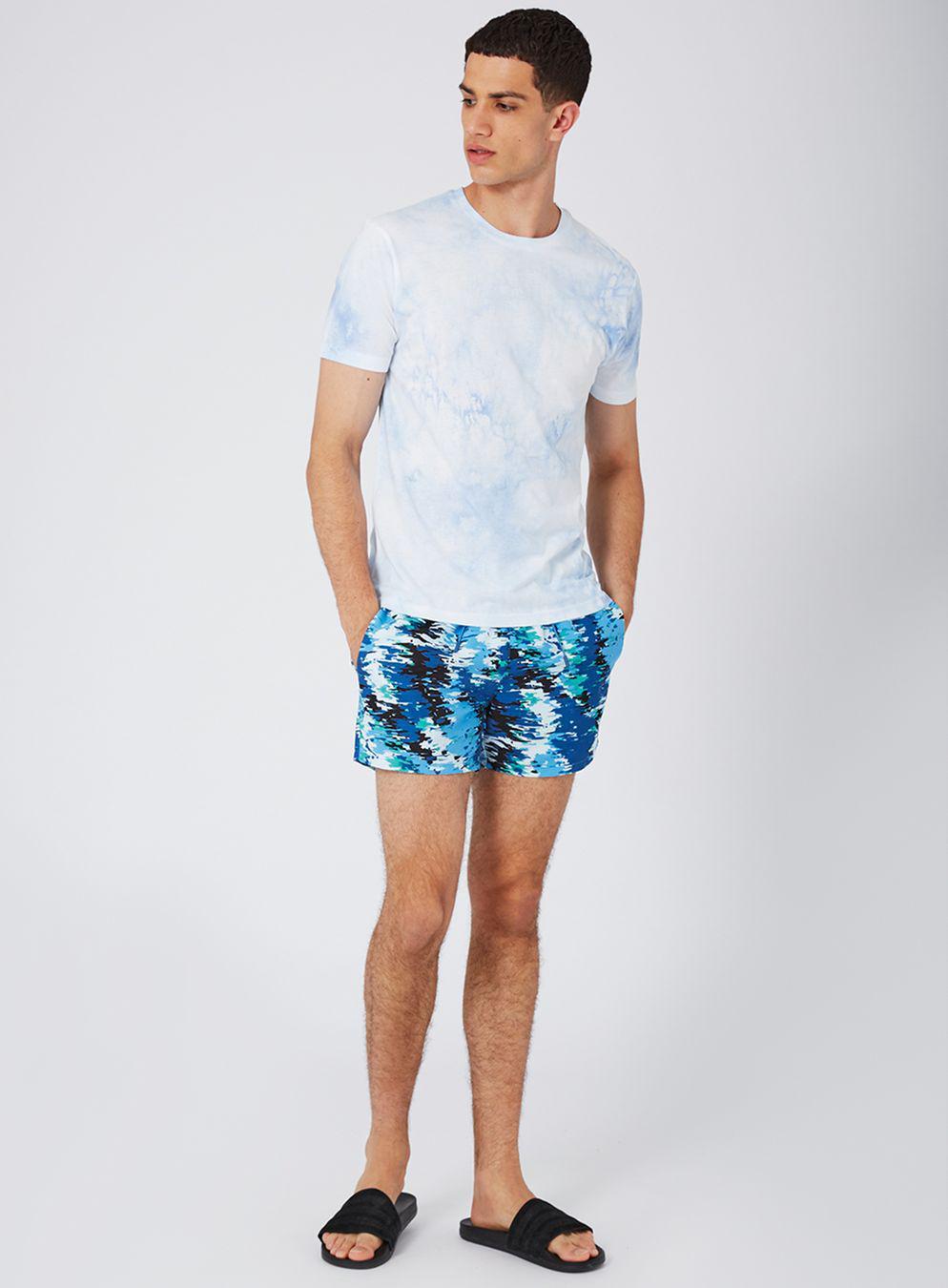 d7e479cc7e TOPMAN Blue Digital Camo Swim Shorts in Blue for Men - Lyst