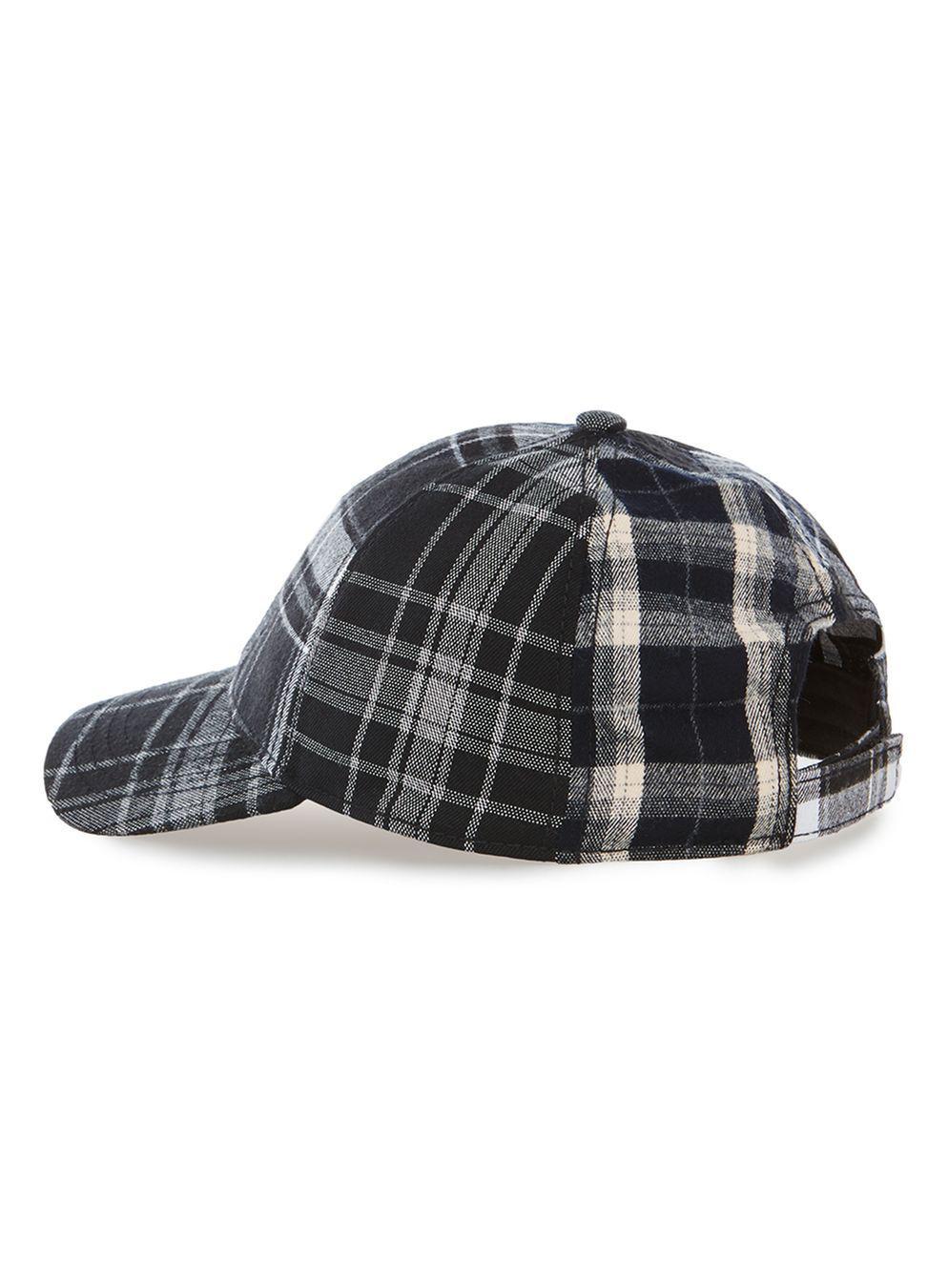 332893c6074 Lyst - TOPMAN Black Check Curve Peak Cap in Black for Men