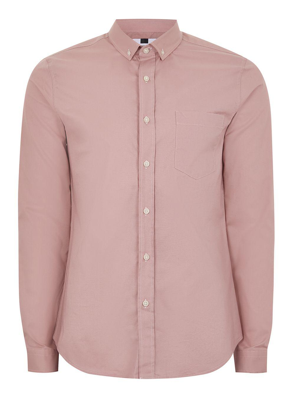 Lyst topman pink muscle fit oxford shirt in pink for men for Pink oxford shirt men