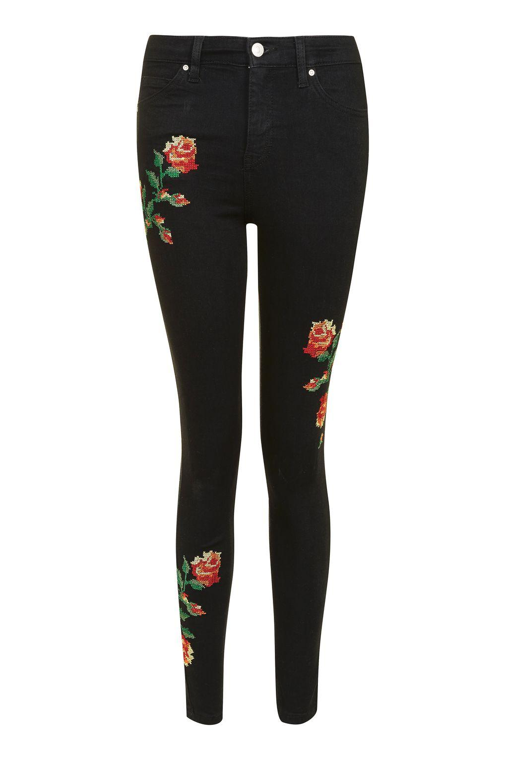 Topshop moto embroidered jamie jeans in black lyst