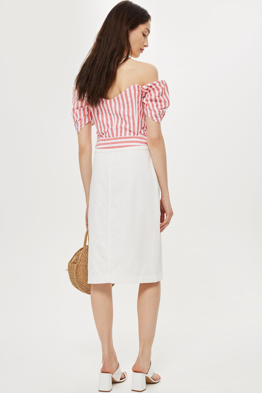 ff13921e77c TOPSHOP - Pink Petite Stripe Puff Sleeve Bardot Top - Lyst. View fullscreen
