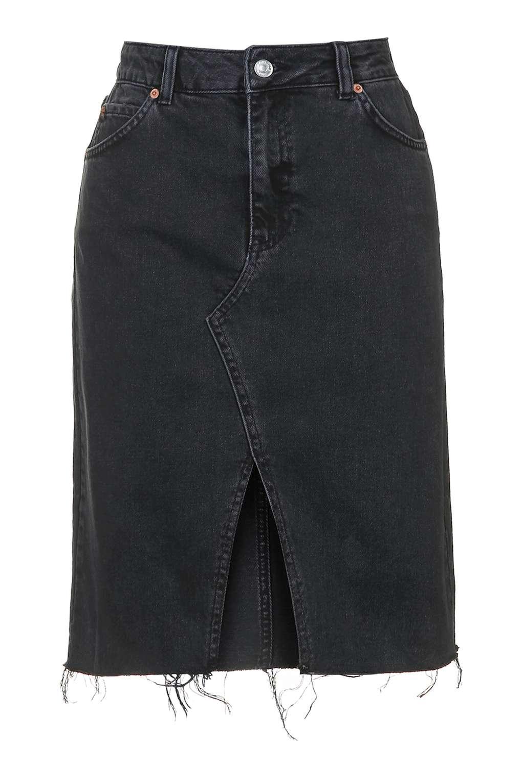 topshop moto split front denim skirt in black lyst