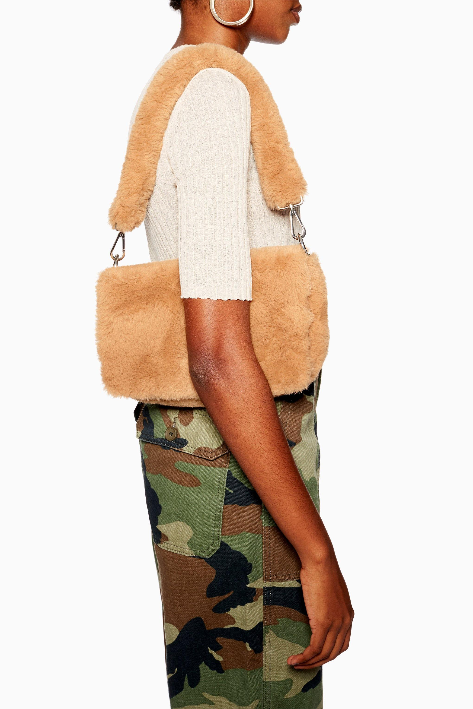 ac26db7a854c Lyst - TOPSHOP Cici Faux Fur Shoulder Bag in Brown