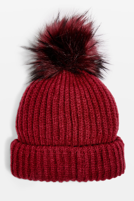 7466e8a33cc Lyst - TOPSHOP Tip Faux Fur Pom Pom Beanie in Red