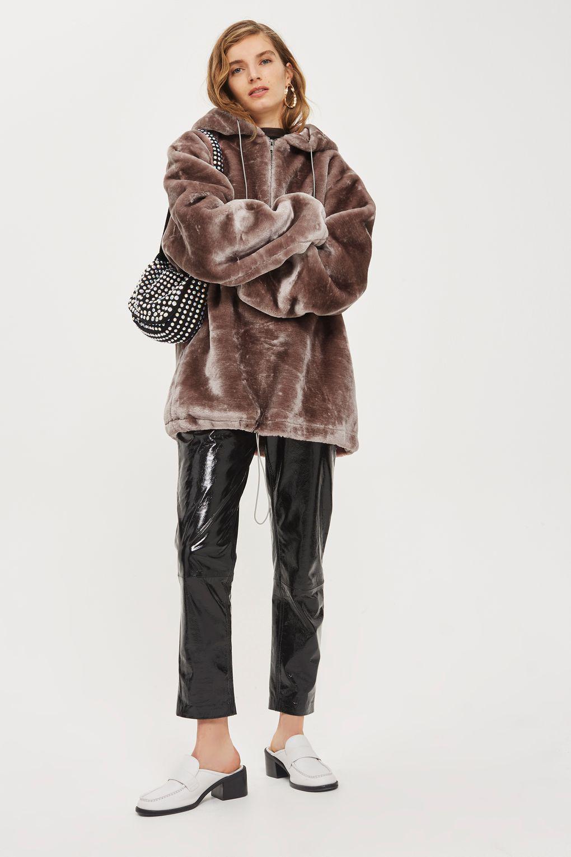 Lyst Topshop Faux Fur Hoodie By Story Of Lola In Pink
