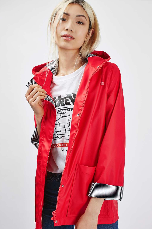 Topshop Rain Mac In Multicolor Red Lyst