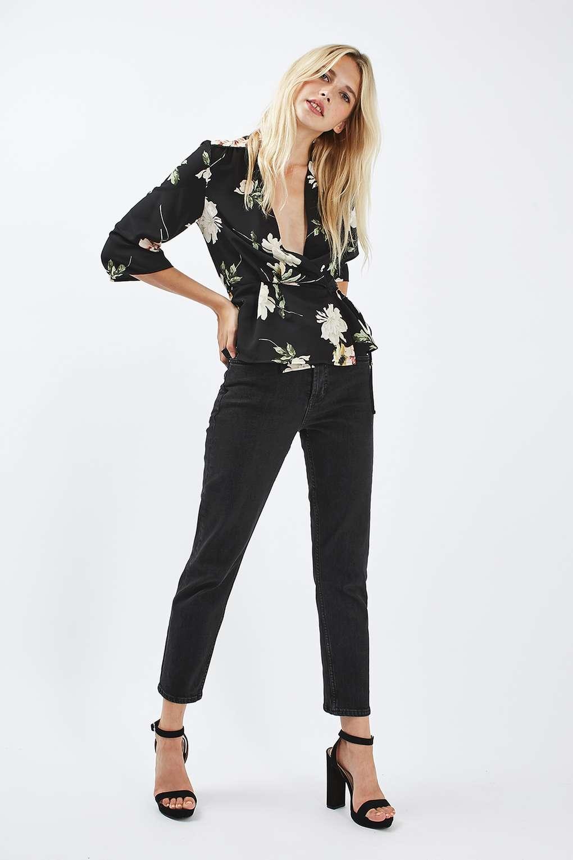 Topshop Floral Wrap Blouse in Black | Lyst