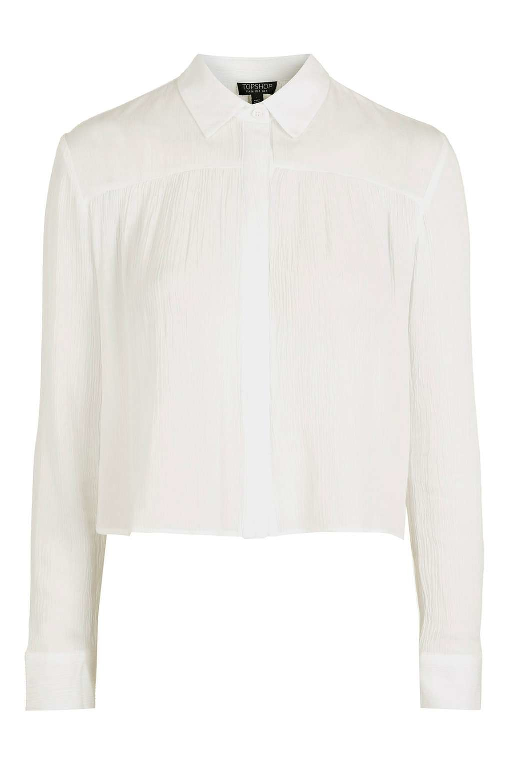 Topshop tie back cropped shirt in white lyst for How to make a tie back shirt